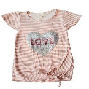 BTWEEN Short Sleeve Tee Love Stripes Pink Size 6